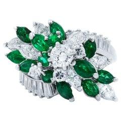 Green Emerald Platinum Cluster Retro Diamond Ring 1.70 Carat