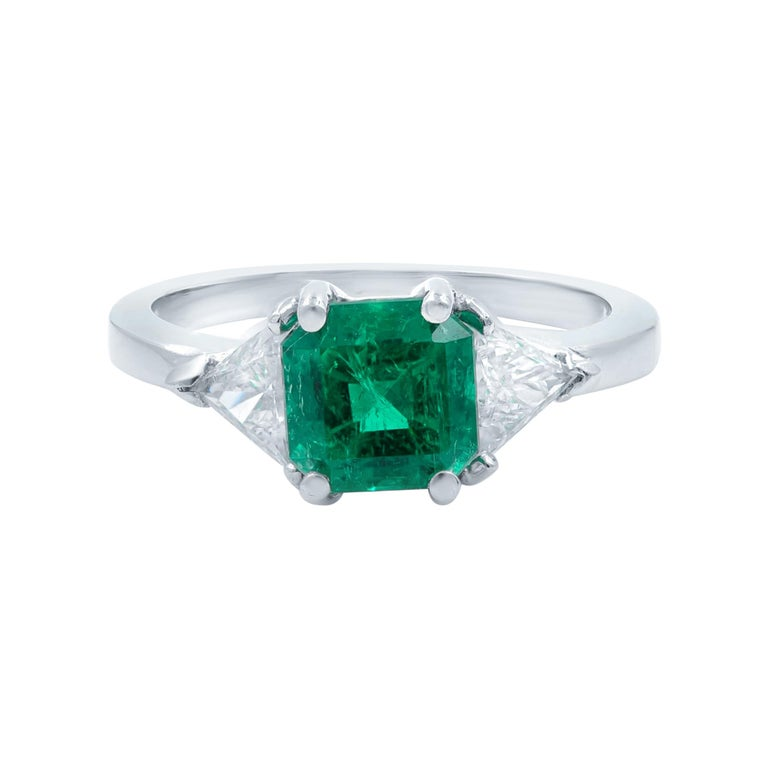 Green Emerald Three-Stone Diamond Ring Platinum For Sale