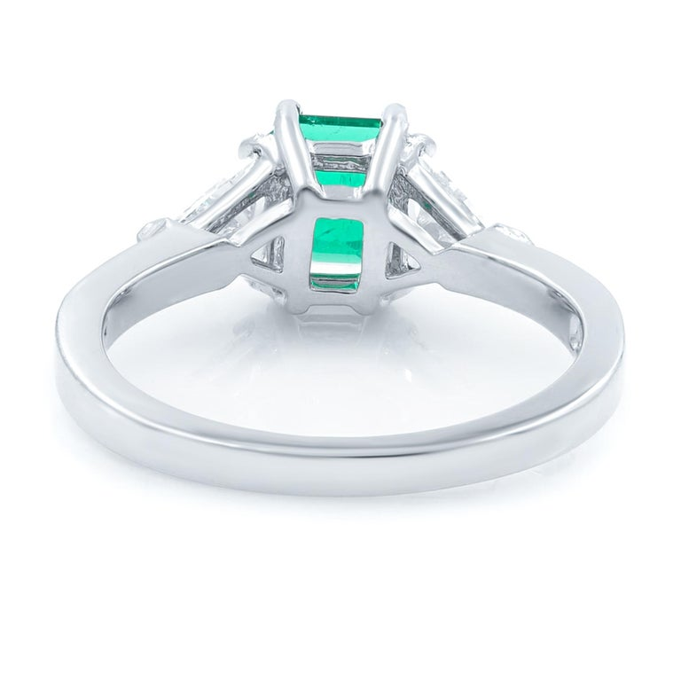 Asscher Cut Green Emerald Three-Stone Diamond Ring Platinum For Sale