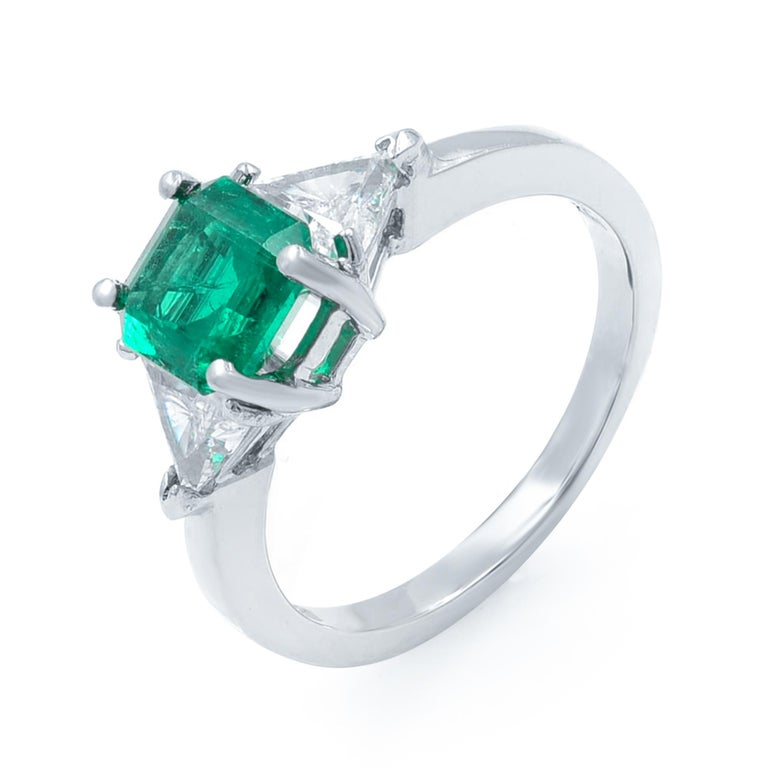 Women's Green Emerald Three-Stone Diamond Ring Platinum For Sale
