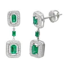 Green Emerald White Diamond White Gold Drop Dangle Earrings