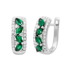 Green Emerald White Diamond White Gold Modern Lever-Back Earrings