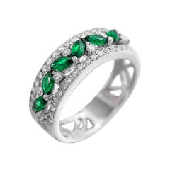 Green Emerald White Diamond White Gold Modern Ring