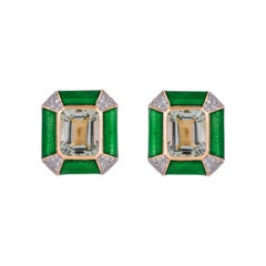 Green Enamel 8.87 Carat Prasiolite Diamond 18 Karat Yellow Gold Stud Earrings