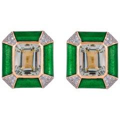 Green Enamel 8.87 Carat Prasiolite Diamond 18 Karat Gold Stud Earrings