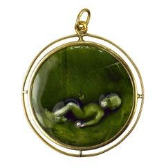 Green Enamel Baby 18k Yellow Gold Charm Pendant