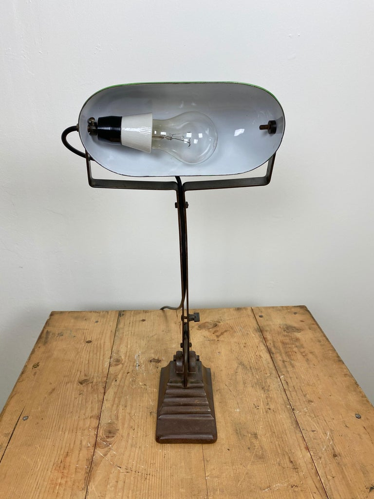 Green Enamel Bank Lamp, 1930s In Good Condition For Sale In Mratin, CZ
