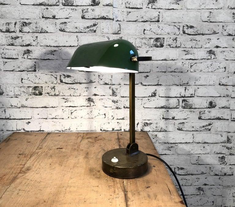 Brass Green Enamel Bank Lamp, 1930s For Sale