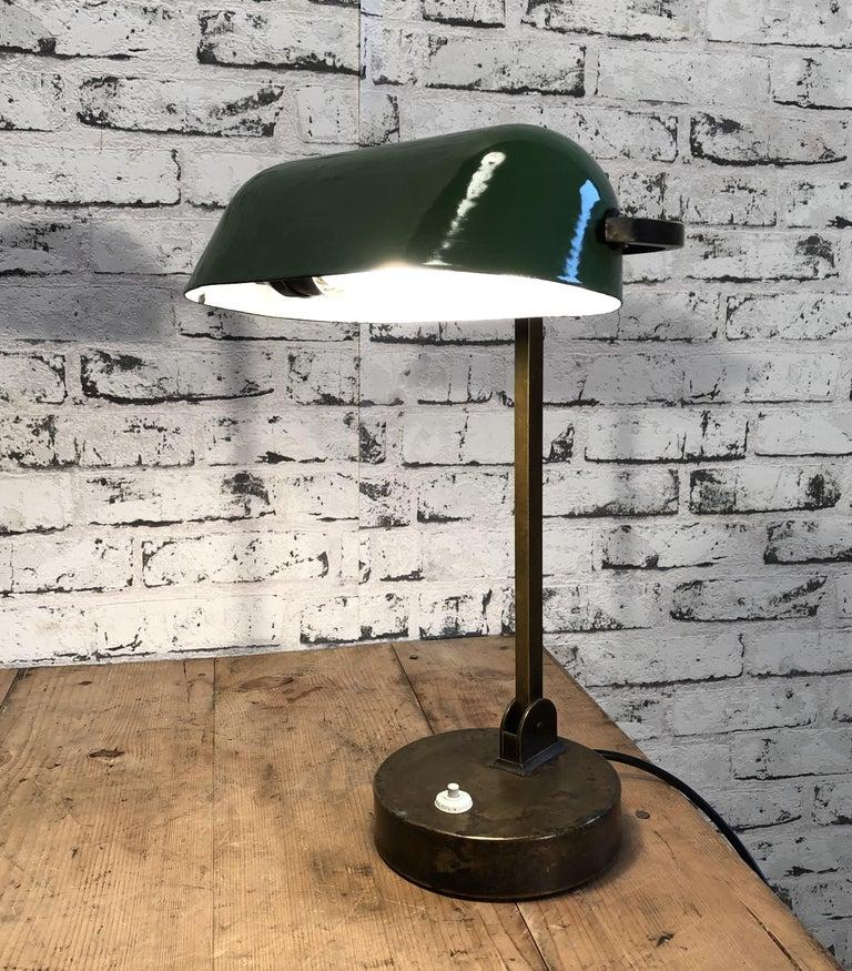 Green Enamel Bank Lamp, 1930s For Sale 1