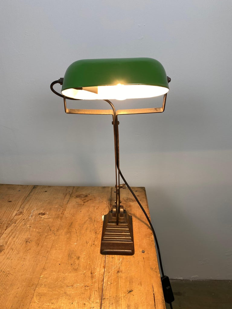 Iron Green Enamel Bank Lamp, 1930s For Sale