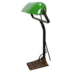 Green Enamel Bank Lamp, 1930s