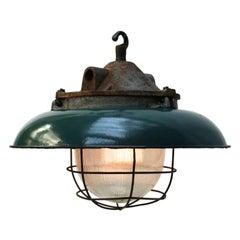 Green Enamel Cast Iron Vintage Industrial Factory Pendants Holophane Glass