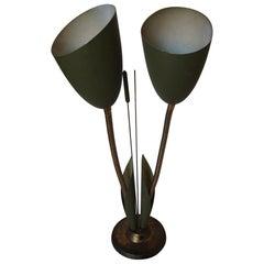 Green Enamel Double Gooseneck Adjustable Calla Lily Desk Lamp