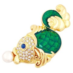 Green Enamel Fish Figural Brooch With Crystal Pavé By Nolan Miller, 1980s