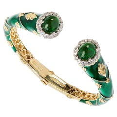Green Enamel Gold Bangle Bracelet with Two Tsavorites and Diamonds Stambolian