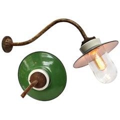 Green Enamel Porcelain Glass Cast Iron Vintage Industrial Wall Lights