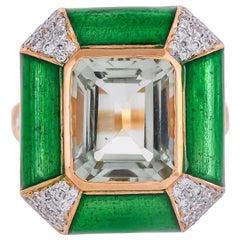 Green Enamel Prasiolite and Diamond 18 Karat Yellow Gold Ring
