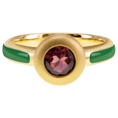 Green Enamel & Round Brilliant Pink Tourmaline 18K Gold Young Ring