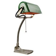 Green Enamel Vintage Banker Table Desk Light