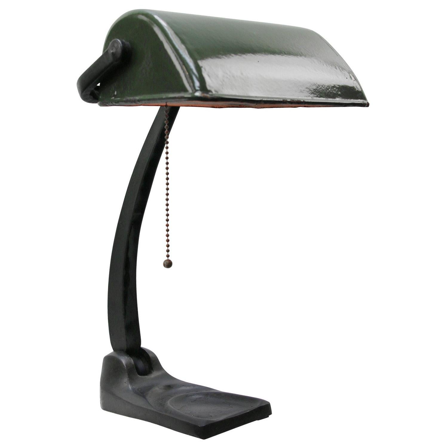 Green Enamel Vintage Bankers Work Light Table Desk Light