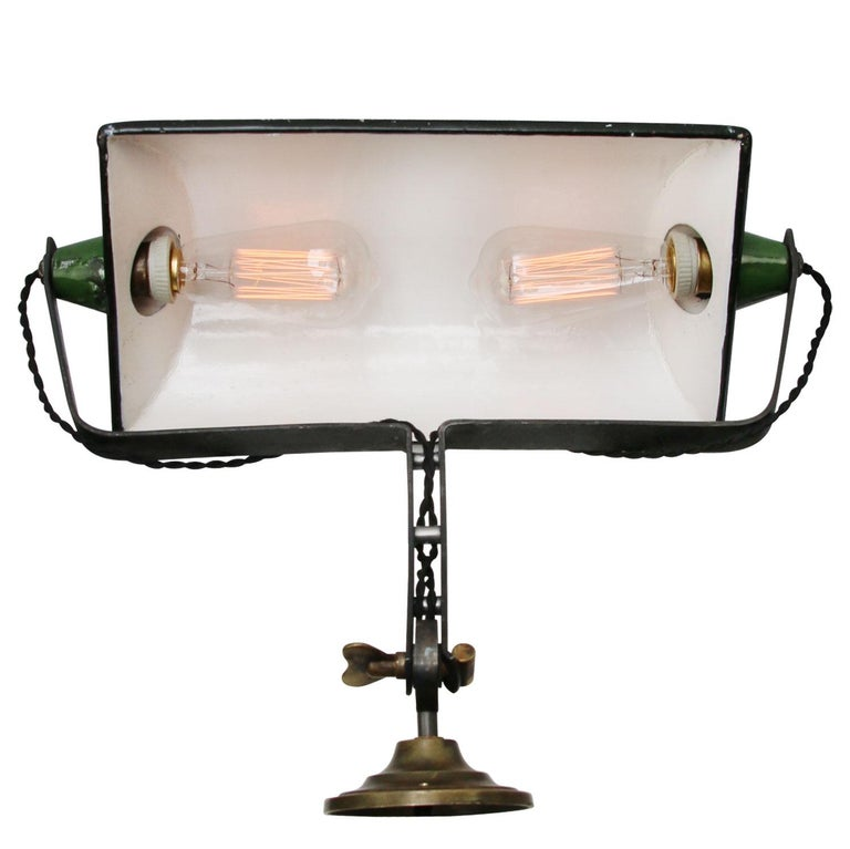 Green Enamel Vintage Industrial Adjustable Arm Wall Lights Scones For Sale 3
