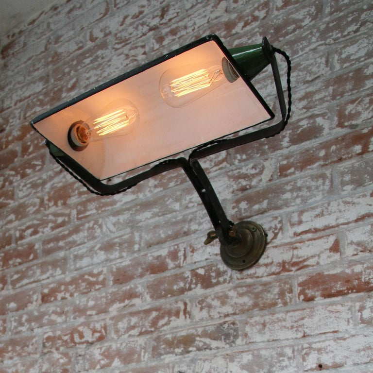 Green Enamel Vintage Industrial Adjustable Arm Wall Lights Scones For Sale 4