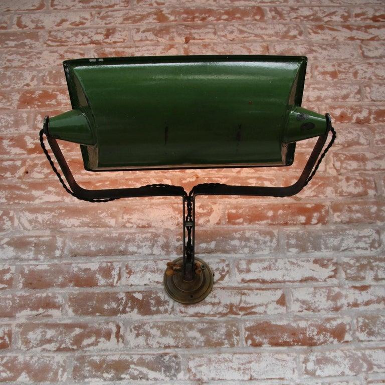 Green Enamel Vintage Industrial Adjustable Arm Wall Lights Scones For Sale 6