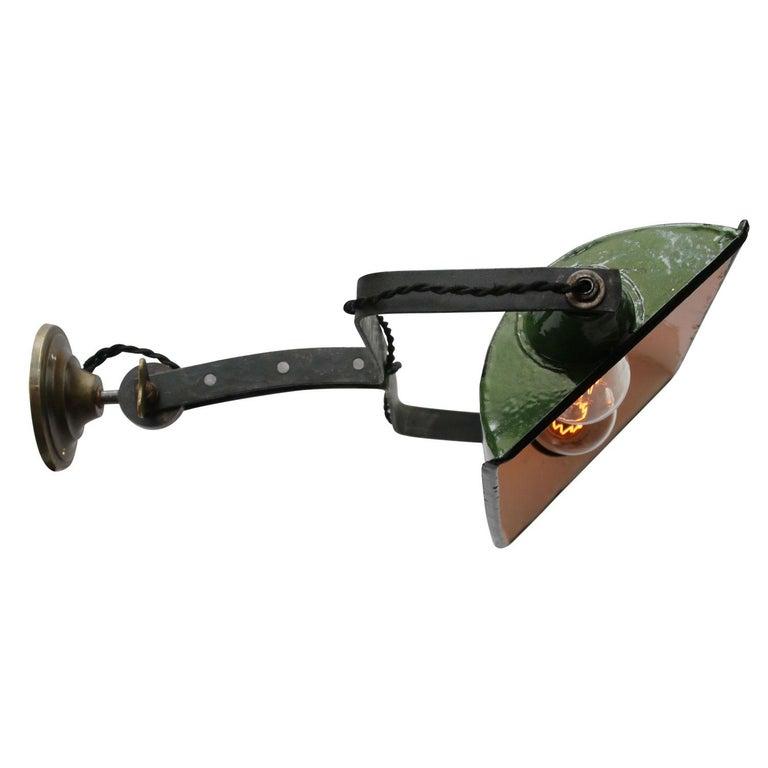 Green Enamel Vintage Industrial Adjustable Arm Wall Lights Scones For Sale 7