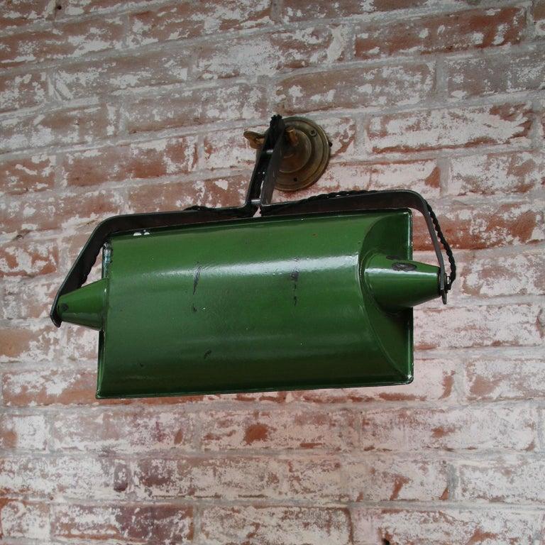 Green Enamel Vintage Industrial Adjustable Arm Wall Lights Scones For Sale 8