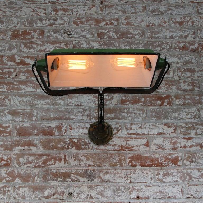 Brass Green Enamel Vintage Industrial Adjustable Arm Wall Lights Scones For Sale