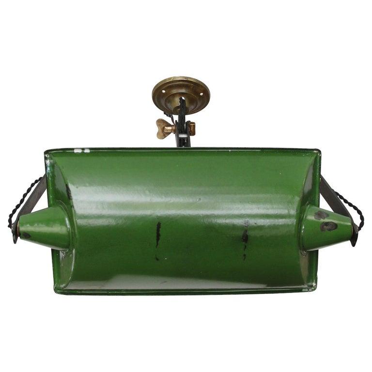 Green Enamel Vintage Industrial Adjustable Arm Wall Lights Scones For Sale 1