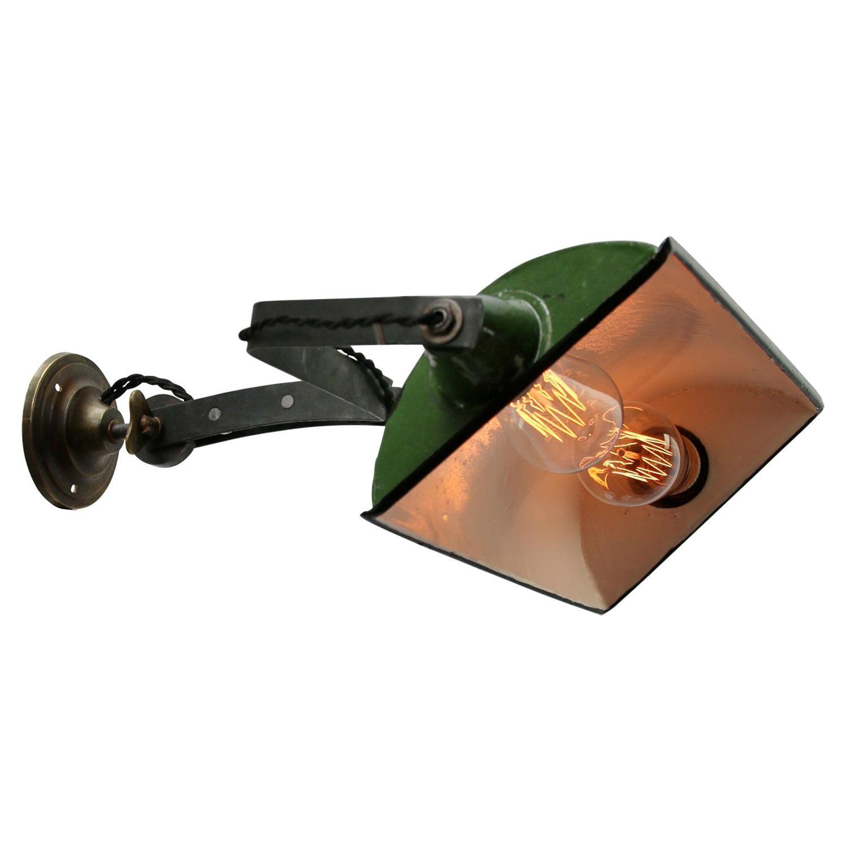 Green Enamel Vintage Industrial Adjustable Arm Wall Lights Scones
