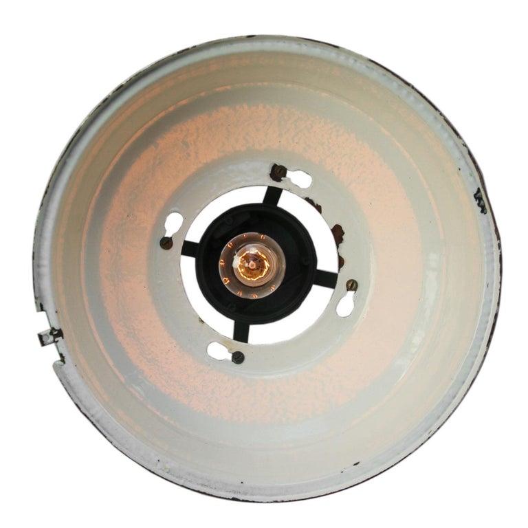 Ukrainian Green Enamel Vintage Industrial Aluminum Top Pendant Lights For Sale