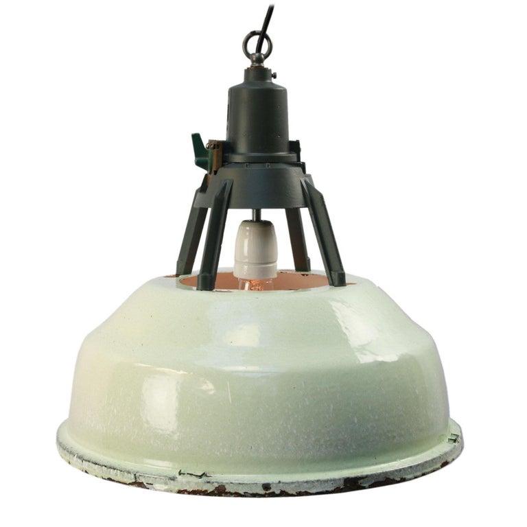 20th Century Green Enamel Vintage Industrial Aluminum Top Pendant Lights For Sale