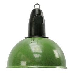 Green Enamel Vintage Industrial Bakelite Top Pendant Lights (5x)