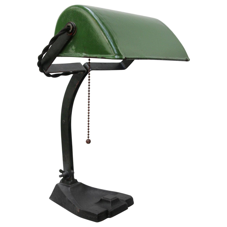 Green Enamel Vintage Industrial Banker Light Table Desk Lights