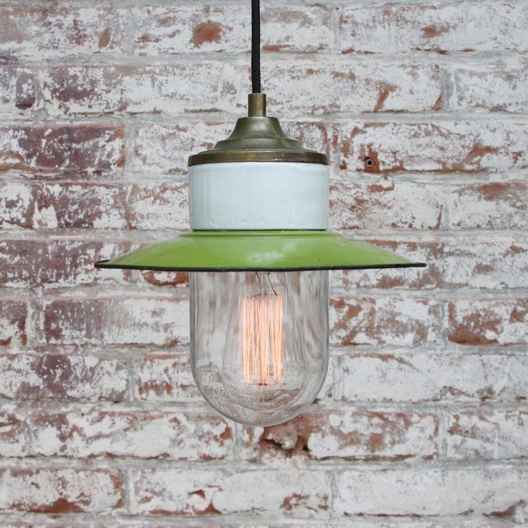 Green Enamel Vintage Industrial Brass Porcelain Clear Glass Pendant Light In Good Condition For Sale In Amsterdam, NL