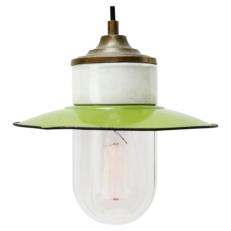 Green Enamel Vintage Industrial Brass Porcelain Clear Glass Pendant Light