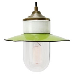 Green Enamel Vintage Industrial Brass Porcelain Clear Glass Pendant Light