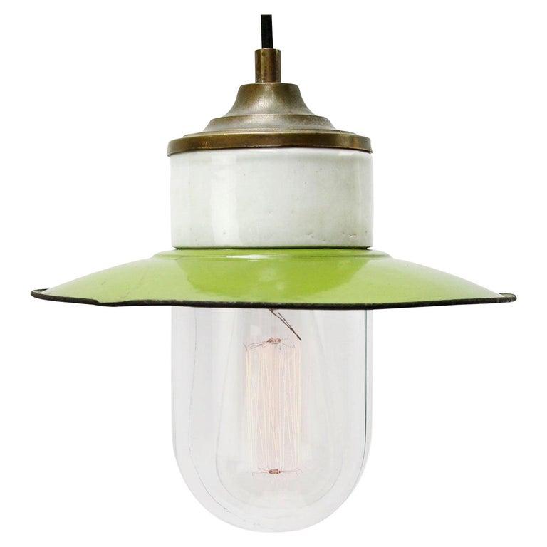 Green Enamel Vintage Industrial Brass Porcelain Clear Glass Pendant Light For Sale