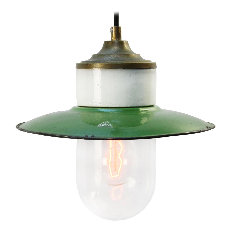 Green Enamel Vintage Industrial Brass Porcelain Clear Glass Pendant Lights