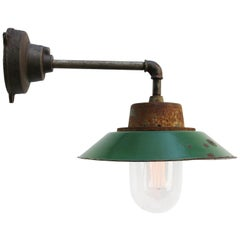 Green Enamel Vintage Industrial Cast Iron Arm Clear Glass Wall Lamp