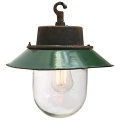 Green Enamel Vintage Industrial Cast Iron Clear Glass Pendant Lights