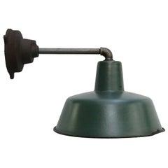 Green Enamel Vintage Industrial Cast Iron Factory Wall Light