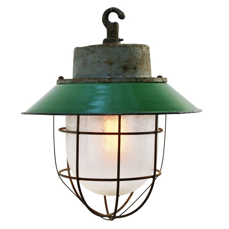 Green enamel. White interior. Cast iron top. Frosted glass.  Weight: 5.0 kg / 11 lb  Priced per individual item. All lamps have been made suitable by international standards for incandescent light bulbs, energy-efficient and LED bulbs. E26/E27