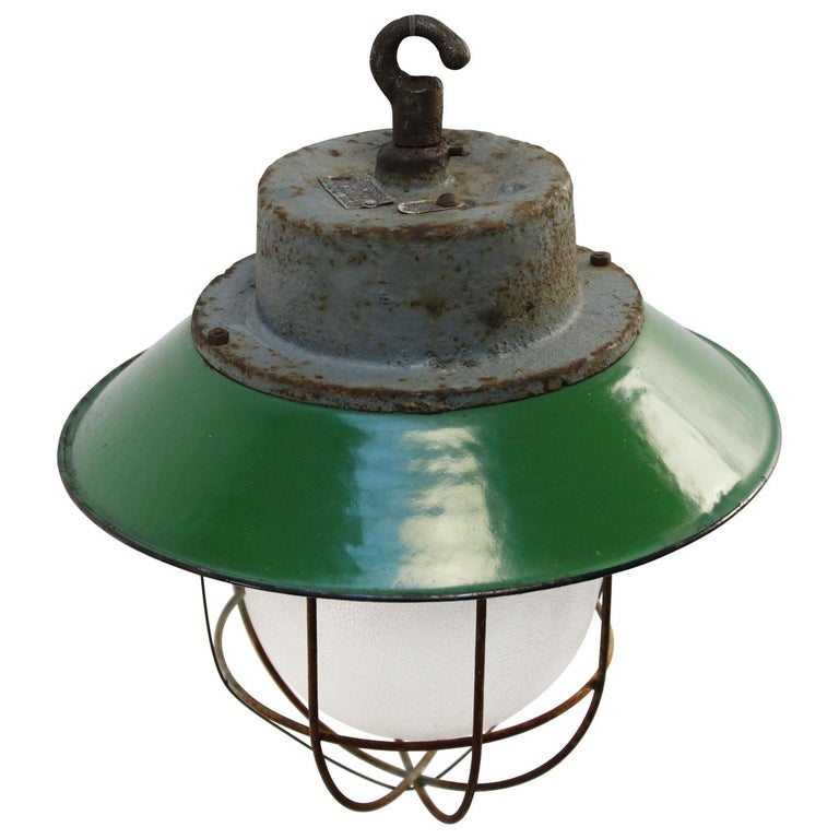 Polish Green Enamel Vintage Industrial Cast Iron Frosted Glass Pendant Lights For Sale
