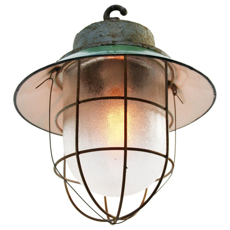 Green Enamel Vintage Industrial Cast Iron Frosted Glass Pendant Lights In Good Condition For Sale In Amsterdam, NL