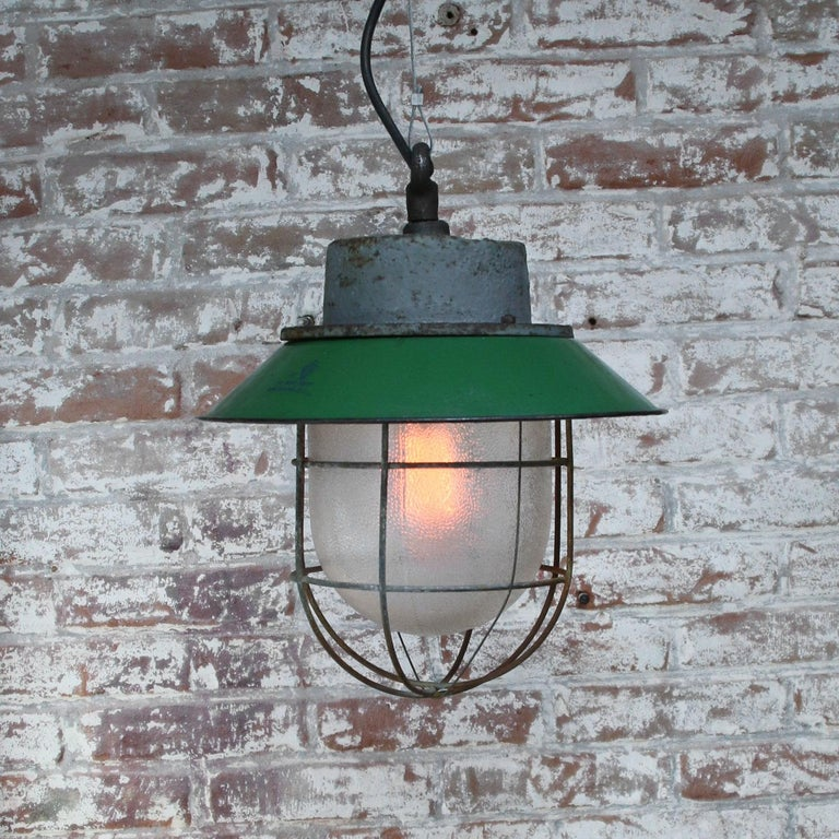 20th Century Green Enamel Vintage Industrial Cast Iron Frosted Glass Pendant Lights For Sale