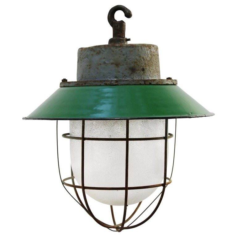 Green Enamel Vintage Industrial Cast Iron Frosted Glass Pendant Lights For Sale