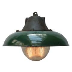 Green Enamel Vintage Industrial Cast Iron Holophane Glass Pendant Lamp